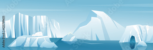 Canvas Antarctic wide landscape panorama illustration, nature winter arctic iceberg and