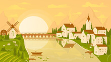 Rural Landscape Scene With Vineyard And Village At Sunset Vector Illustration. Cartoon Countryside Farm Scenery, Mountains And Bridge Over River, Farmer Houses And Windmill, Sun On Horizon Background