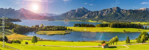 beautiful panoramic landscape in Bavaria, Germany - fototapety na wymiar