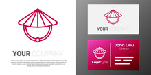 Logotype Line Asian Or Chinese Conical Straw Hat Icon Isolated On White Background. Logo Design Template Element. Vector