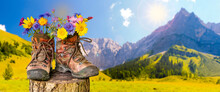 Walking Boots With Flowers In Beautiful Rural Landscape