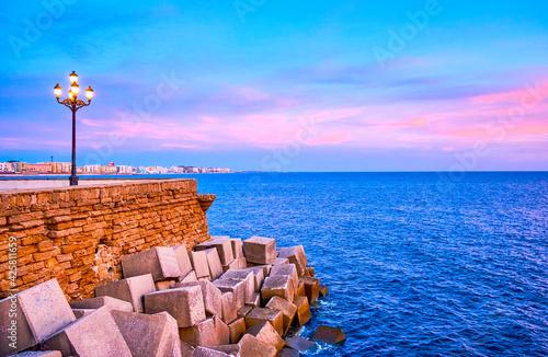 Fotografia, Obraz The bastions of old Cadiz, Spain
