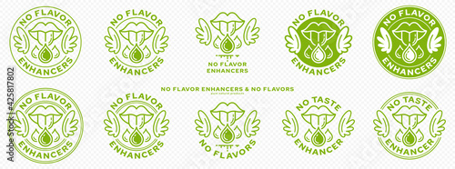 Fototapeta Concept for packaging. Labeling - no flavor enhancers. The mouth icon with wings and a drop of additive is a symbol of freedom from flavorings and a flavor enhancer. Vector. obraz