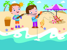 Boys Fishing At Beach Vector Concept For Banner, Website, Illustration, Landing Page, Flyer, Etc.