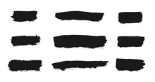Black Vector Brush Set. Vector Ink Freehand Textures