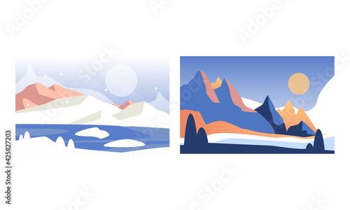 Obraz Beautiful Winter Landscape Set, Serenity Scenes of Nature at Day Time Cartoon Vector Illustration - fototapety do salonu