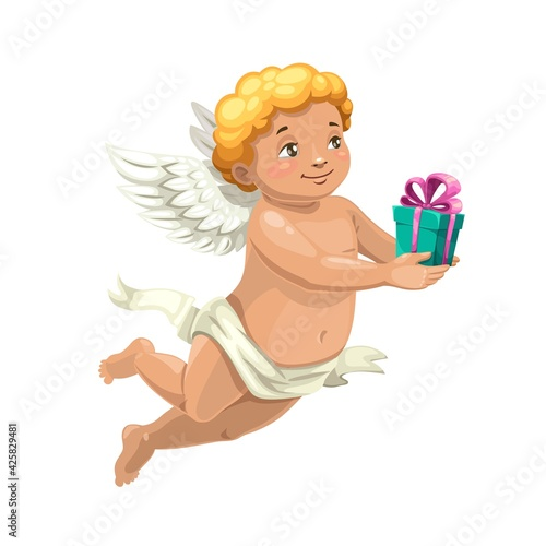 Cupid angel vector character with Valentine Day or wedding gift Fototapet