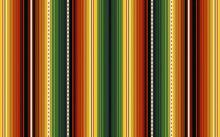 Colorful Stripes Background. Mexican Style Vector Seamless Pattern. Serape Design. Ornament For Cinco De Mayo Fiesta Decor. Ethnic Boho Fabric Illustration. Western Decor Style.