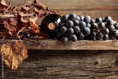 Fotografie, Tablou Bottle of red wine with grapes and dried vine on an old wooden table