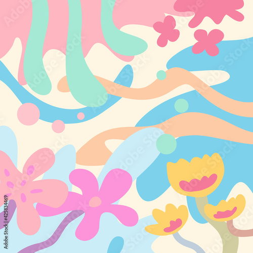 Fotografie, Obraz Colorful floral pattern flat background with pastel colors, a vector flowers and nature background with colorful and soft pastel colors, modern background floral design template