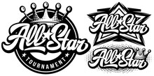 Set Of Monochrome Templates With Calligraphic Inscription All Stars. Vector Editable Illustration. Element For Business Card Design, Style, Website, Print On A T-shirt