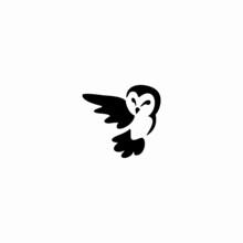 Owl Logo Vector Illustration. Emblem Design On White Background