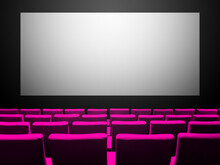 Cinema Movie Theatre With Pink Seats And A Blank White Screen