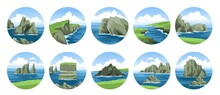 Big Collection Of Simple Hand-drawn Vector Illustrations With Sea And Rocks, Cliffs, Stones, Coasts, Sea Capes. Ocean And Sea Nature Landscape With Fluffy Clouds.