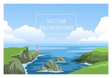 Coastline Landscape With Lighthouse. Irish Green Seascape With Cloudy Sky And Big Fluffy Clouds. Signal Building On Seaside, Seashore. Hand-drawn Vector Background