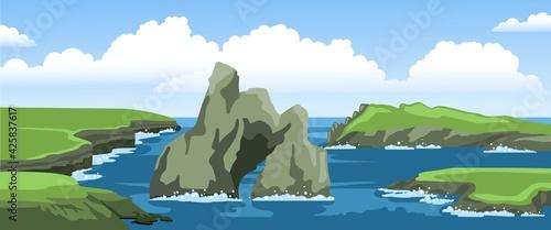 Fotografiet Ocean landscape with cliffs, rocks, coast, sea foam and big cloud in the sky