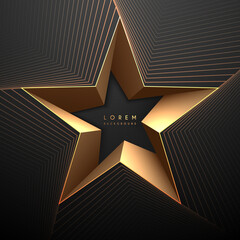 Abstract black and gold star shape background