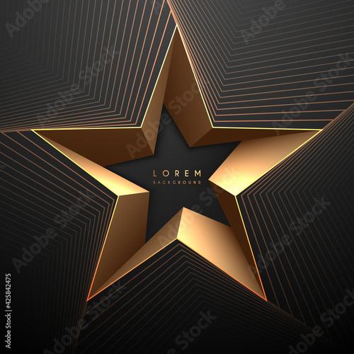 Obraz Abstract black and gold star shape background - fototapety do salonu