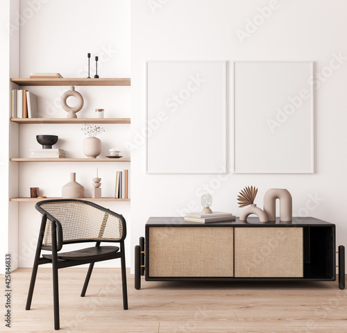 Poster frame mock up in living room interior, modern furniture and wooden decorative, rattan cabinet, black wicker chair, 3d render