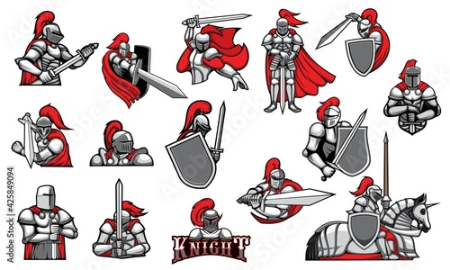 Foto Knights with swords, isolated heraldic vector mascots