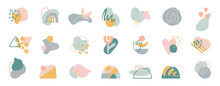 Organic Shapes Compositions Set. Hand Draw Abstract Design Elements In Pastel Colors. Minimal Stylish Cover Template. Art Form For Social Media Stories, Branding, Banner, Decor. Vector Illustration