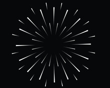 Radial White Speed Lines In Round Form. Vector Illustration. Fireworks. Star Rays. Explosion. Design Element For Prints, Web, Template, Logo, Tattoo And Pattern. Trendy Design Element