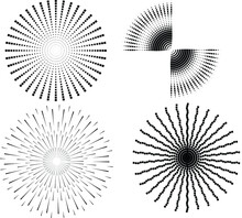 Set Of Abstract Black Halftone Dots.Black Halftone Dots In Vortex Form. Geometric Art. Trendy Design Element.Circular And Radial Lines Volute, Helix.Segmented Circle With Rotation