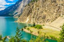 Majestic Mountain Lake In Canada. Seton Lake In British Columbia, Canada.