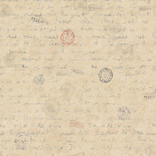 Seamless Pattern In Vintage Style With Hand Written Letters, Post Stamps, Envelopes, Fountain Pens, Feathers.