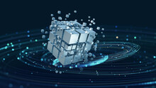 High-tech And Data Capture. Square Blocks Are Collected In A Cubic Array Against The Background Of A Digital Field. 3d Blockchain Concept Illustration. Creation Of Artificial Intelligence