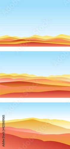Set of landscape with waves. Blue sun set sky. Yellow, orange, pink and red mountains silhouette. Sandy desert dunes. Nature and ecology. Horizontal orientation. social media, post cards and posters