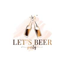 Beer Bottle Splash Watercolor Logo On White
