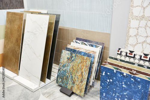 Colored pattern porcelain stoneware tiles in store Fotobehang