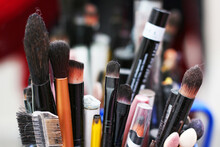 Some Makeup Tools, Such As: Pencils, Brushes, Mini Comb .
