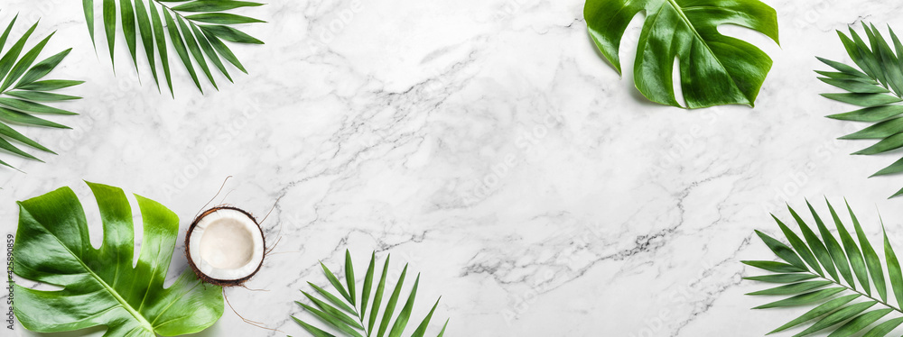 Fototapeta Tropical leaves, Monstera plants and coconut on light marble background. Summer concept, flat lay, top view