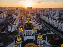 Aerial View From A Drone To The Sunset Over The City Of Kiev On Obolon Embankment