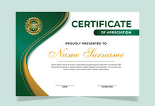 Elegant And Professional Green And Gold Award Certificate Template