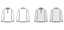 Polo Sweater Technical Fashion Illustration With Rib Henley Neck, Long Sleeves, Oversized, Hip Length, Knit Rib Trim. Flat Jumper Apparel Front, Back, White Grey Color. Women, Men Unisex CAD Mockup