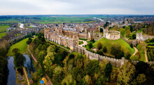 The Aerial View Of Ancient Castle In Arundel, A Market Town In West Sussex, England