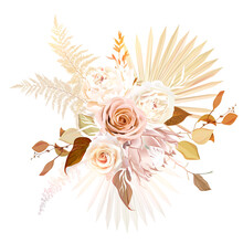Trendy Dried Palm Leaves, Blush Pink Rose, Pale Protea, White Ranunculus, Pampas Grass Vector