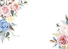 Banner Style Floral Beige Frame Arranged From Leaves And Flowers