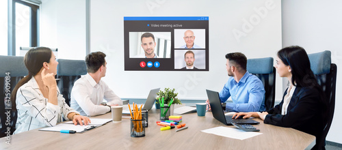 Photo Business conference, remote video chat concept
