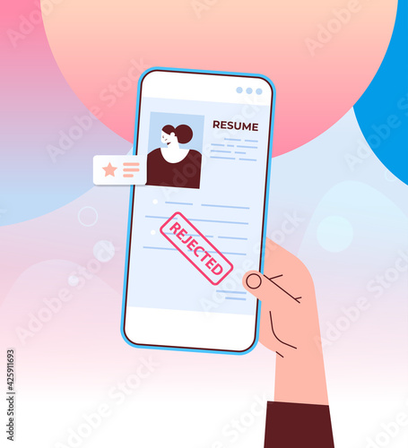 cv portfolio of job candidate resume with stamp rejected on smartphone screen recruitment hiring concept