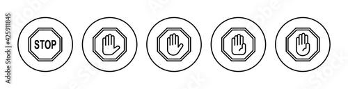 Fotografie, Obraz Stop icon set. stop road sign. hand stop icon vector