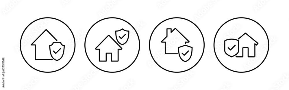 Fototapeta House insurance icon set. house protection icon.