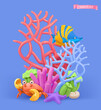 Coral reef and fish. 3d vector cartoon illustration. Plasticine art objects