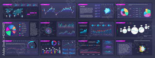 Canvas-taulu Infographic dashboard mockups with pie charts, information, diagrams and graphs