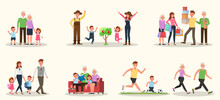 Set Of Happy Family People Mother, Father, Grandparents And Children Together Character Vector Design. Presentation In Various Action With Emotions, Running, Standing And Walking. No6
