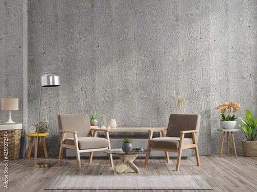 Loft style house with armchair and accessories in the room. Fototapeta