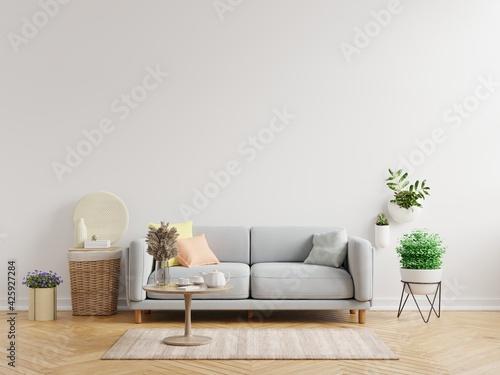 Fototapeta Living room interior wall mockup have sofa and decoration.